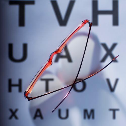 Sehtafel mit Brille